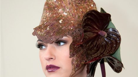 Chocolate coloured Anthurium flower hat