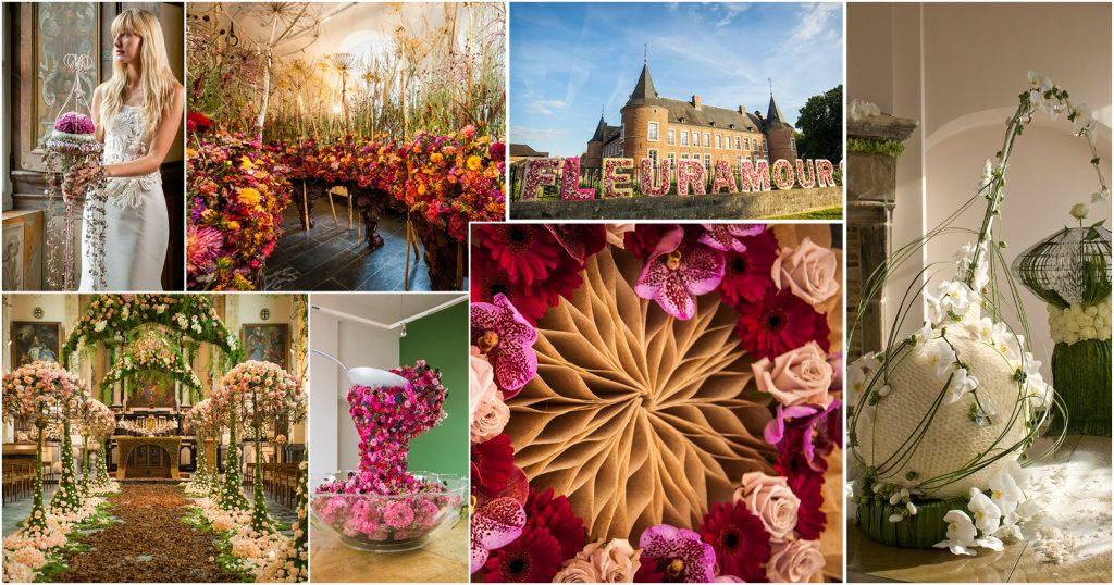 Flower designs at Fleuramour Alden Biesen Belgium