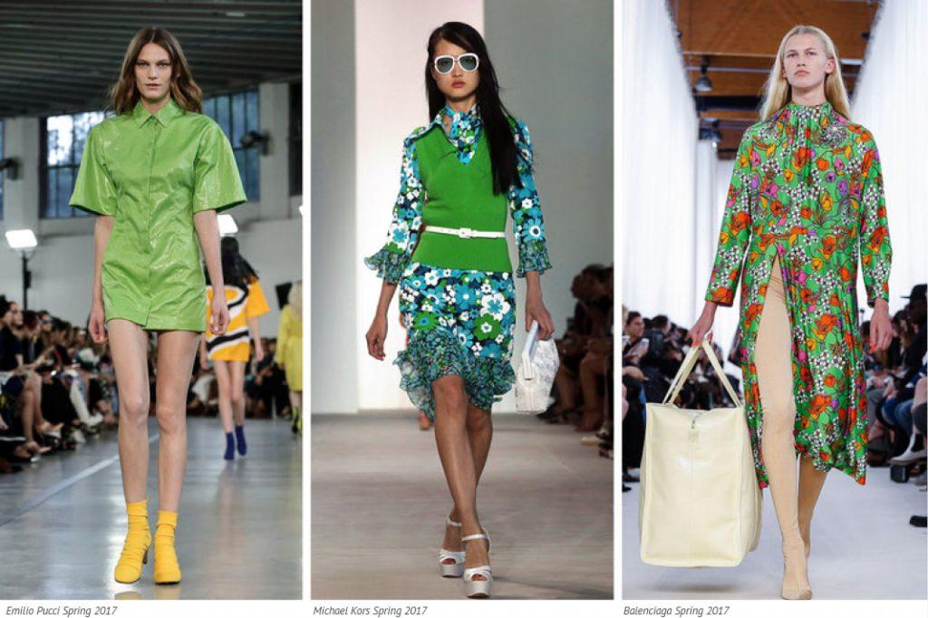 Pantone colour of 2017 greenery on the runway t Emilio Pucci, Michael Kors and Balenciaga