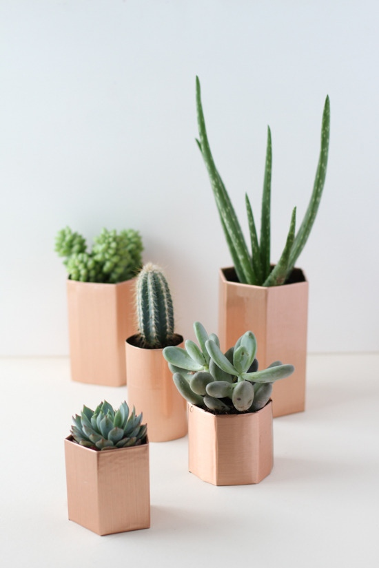 DIY copper geometric planter