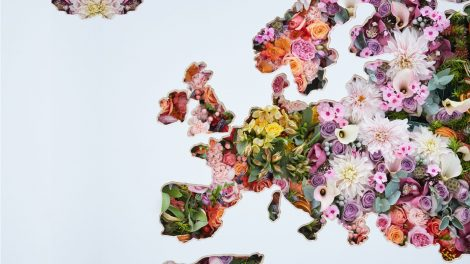 A giant floral map of the world is unveiled at London Heathrow Airport.