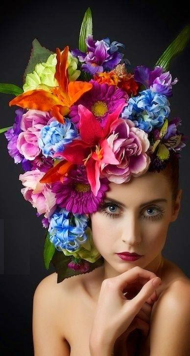 Colourful flower hat