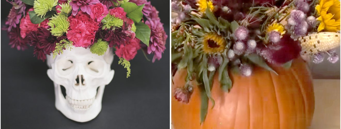DIY halloween floral decorations