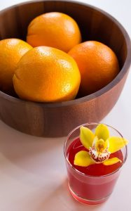 colourful cocktail with exotic Orchid