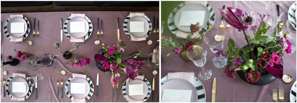 style a pruple Christmas table with Anthurium