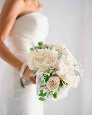 Classic white spring wedding bouquet