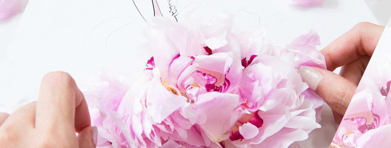 Fashion illustrators Instagram creative with flowers