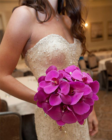 Purple Phalaenopsis only wedding bouquet