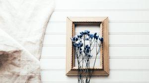 Gedroogde bloemen in een lijstje